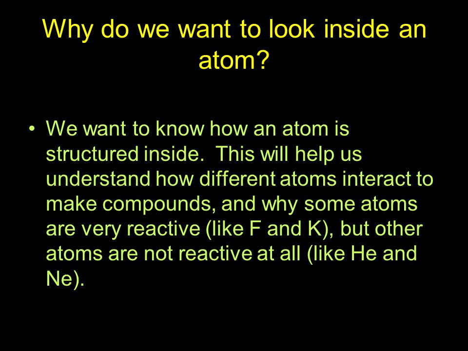 Why do we want to look inside an atom