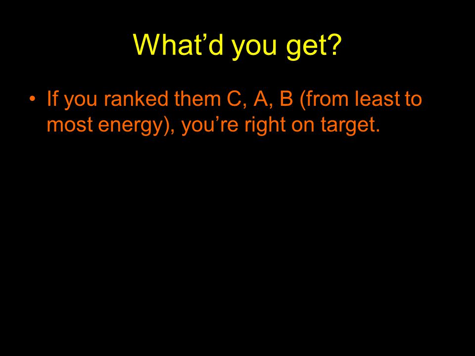 What'd you get If you ranked them C, A, B (from least to most energy), you're right on target.