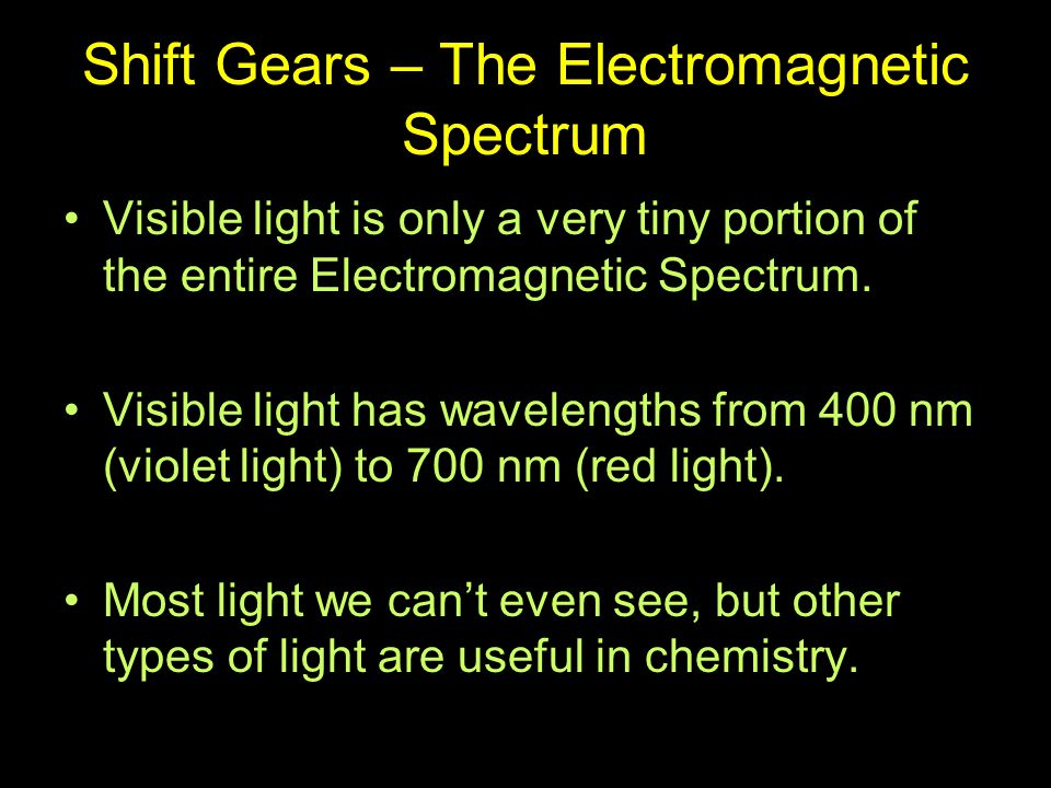 Shift Gears – The Electromagnetic Spectrum