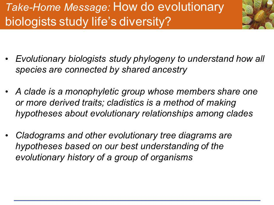 Take-Home Message: How do evolutionary biologists study life's diversity