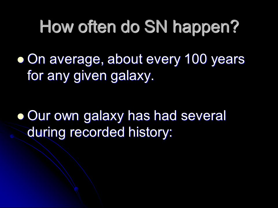 How often do SN happen. On average, about every 100 years for any given galaxy.