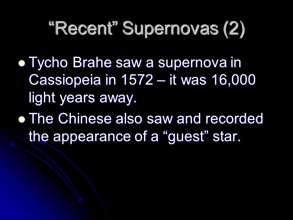 Recent Supernovas (2)