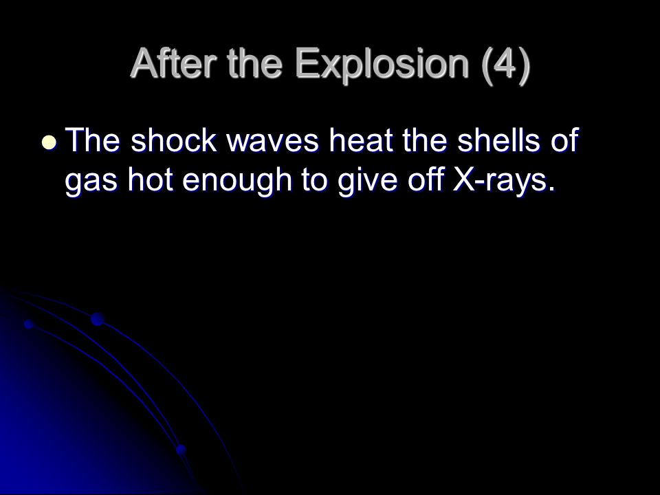 After the Explosion (4) The shock waves heat the shells of gas hot enough to give off X-rays.