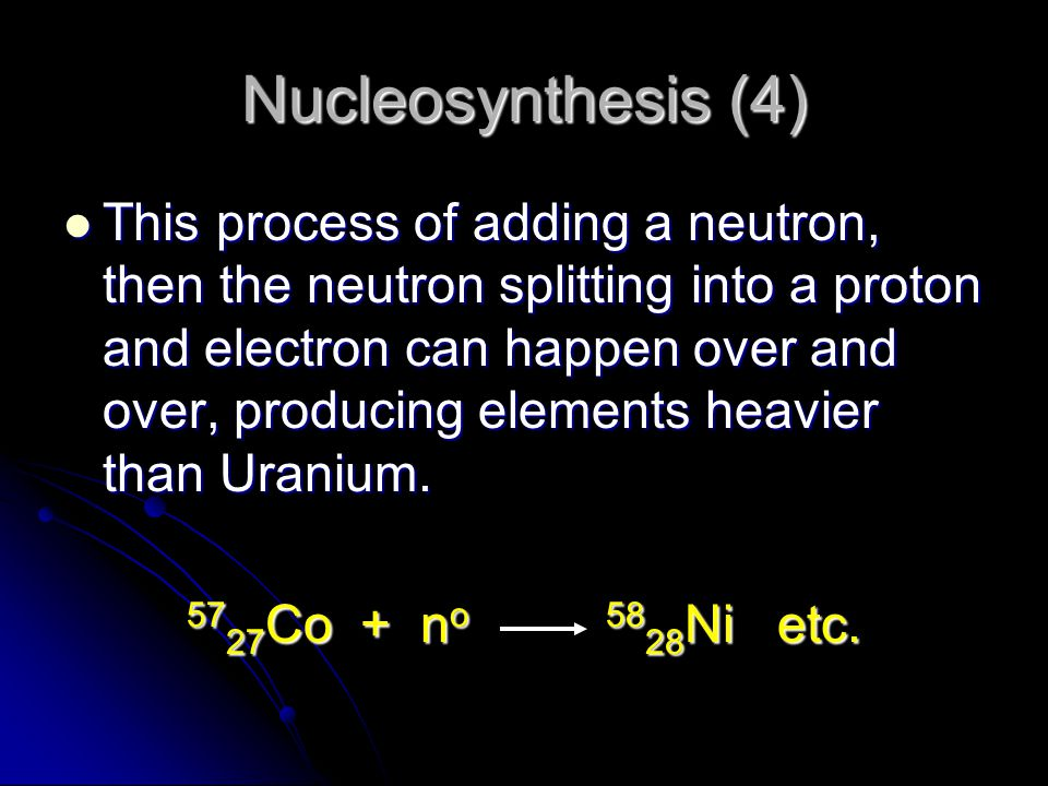 Nucleosynthesis (4)