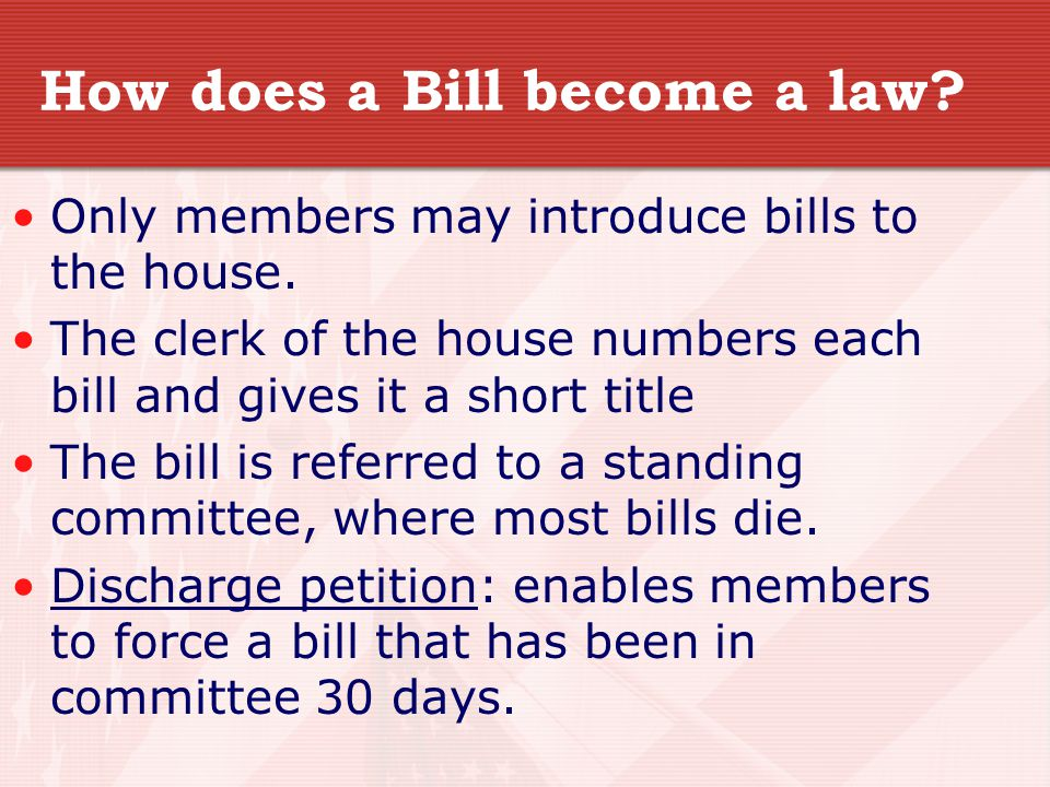 How does a Bill become a law