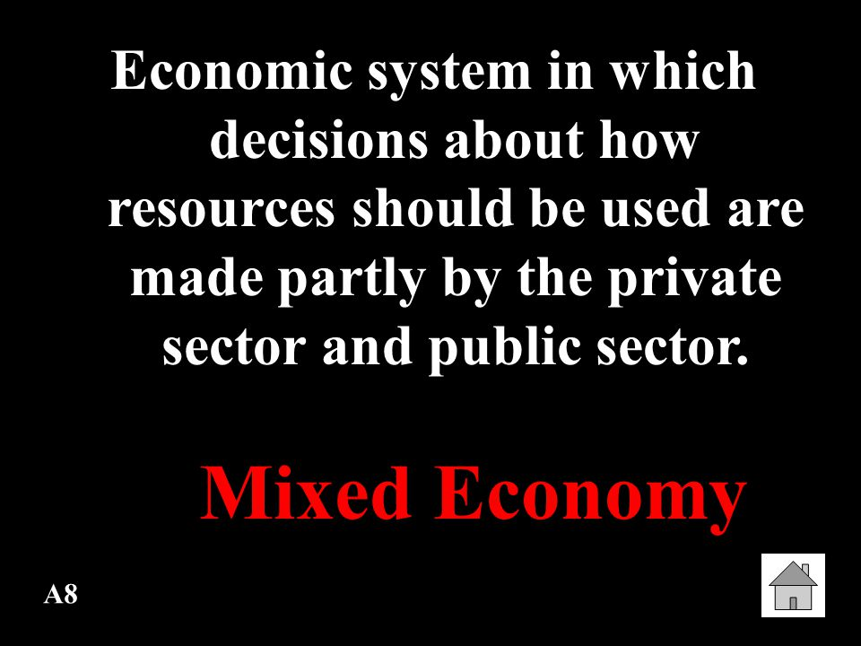 Economic system in which decisions about how resources should be used are made partly by the private sector and public sector.