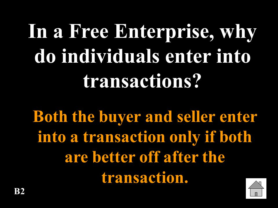 In a Free Enterprise, why do individuals enter into transactions