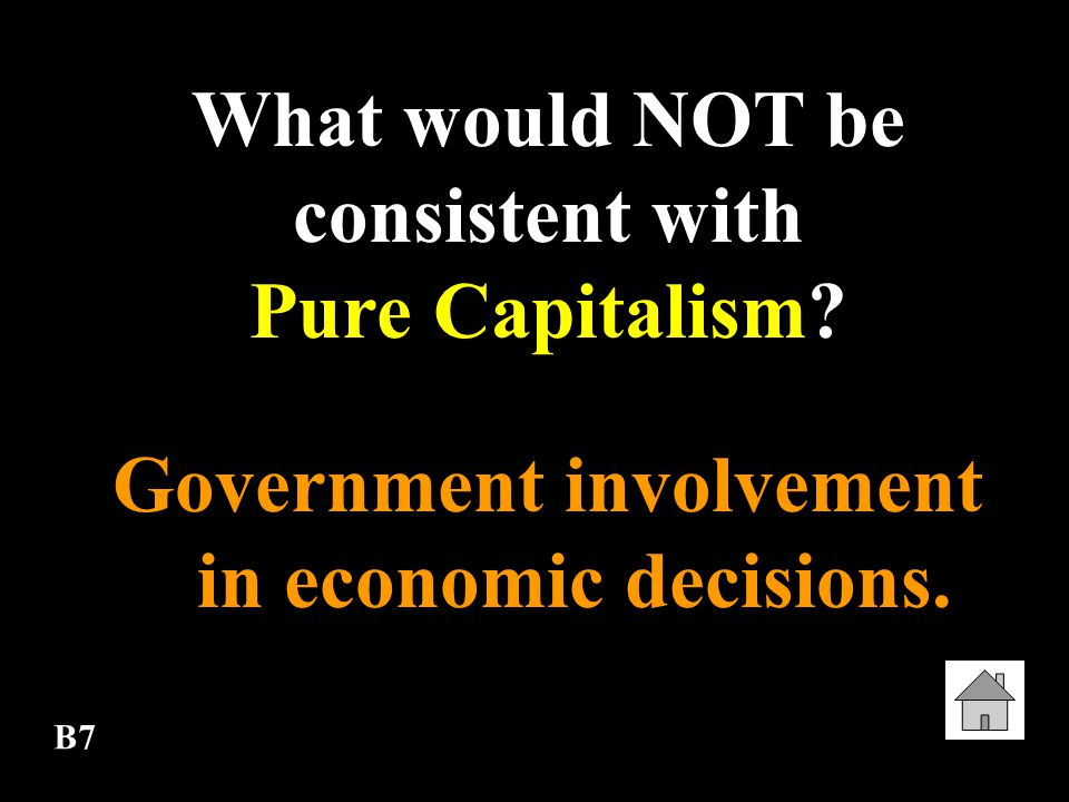 What would NOT be consistent with Pure Capitalism