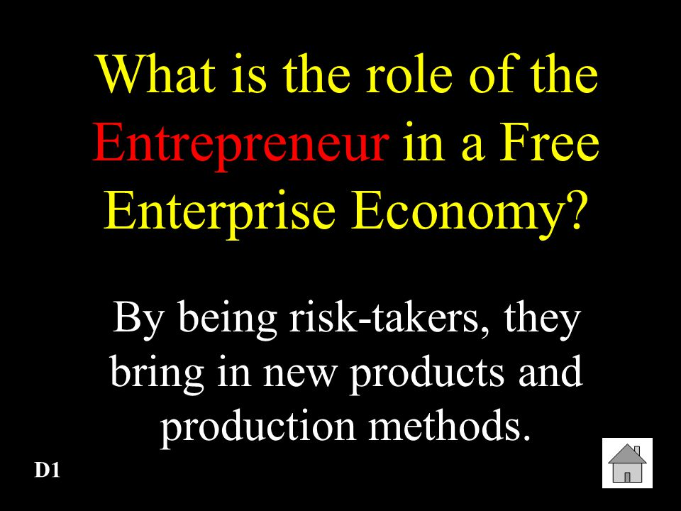 What is the role of the Entrepreneur in a Free Enterprise Economy