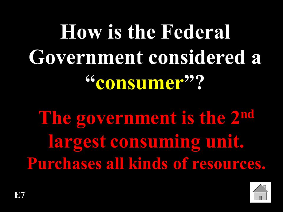 How is the Federal Government considered a consumer