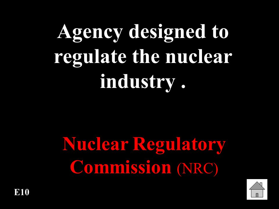 Agency designed to regulate the nuclear industry .