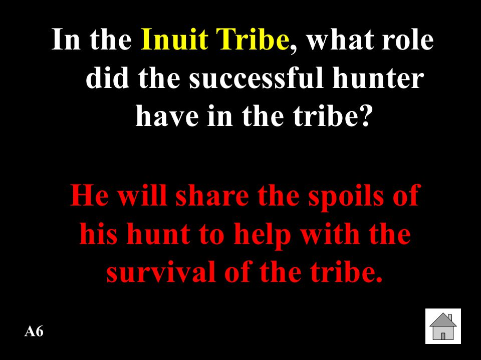 In the Inuit Tribe, what role did the successful hunter have in the tribe