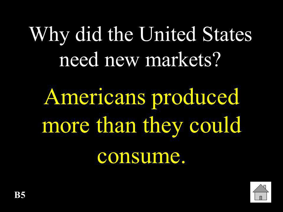 Americans produced more than they could consume.