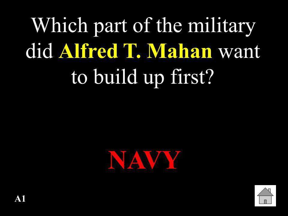 Which part of the military did Alfred T. Mahan want to build up first