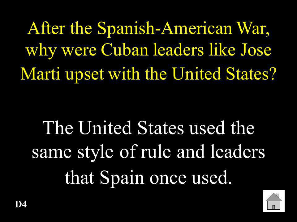 After the Spanish-American War, why were Cuban leaders like Jose Marti upset with the United States