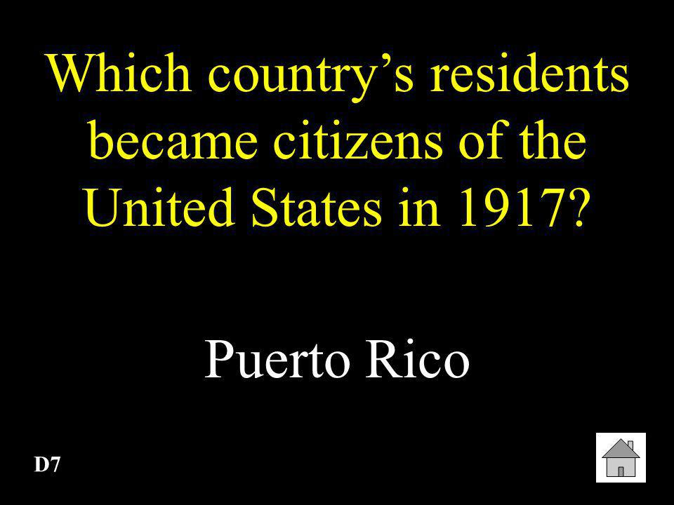 Which country's residents became citizens of the United States in 1917
