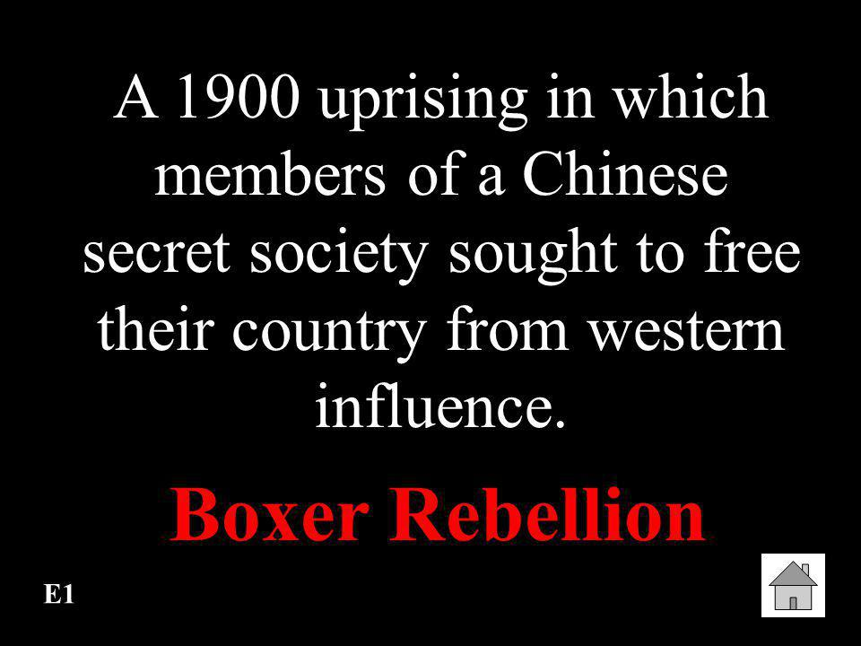 A 1900 uprising in which members of a Chinese secret society sought to free their country from western influence.