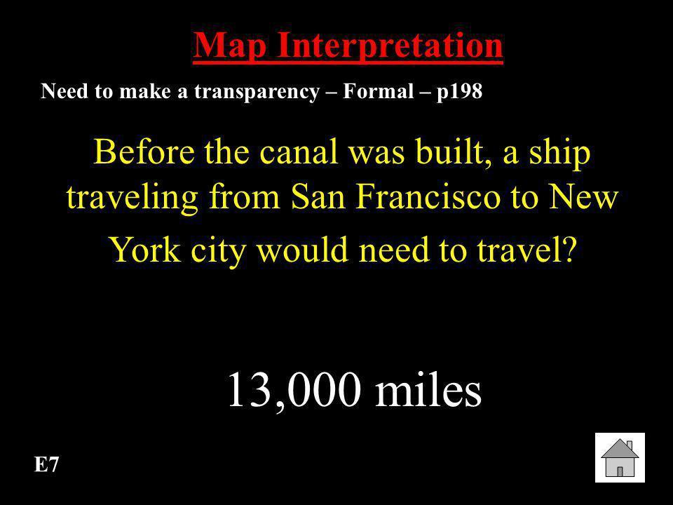 13,000 miles Map Interpretation