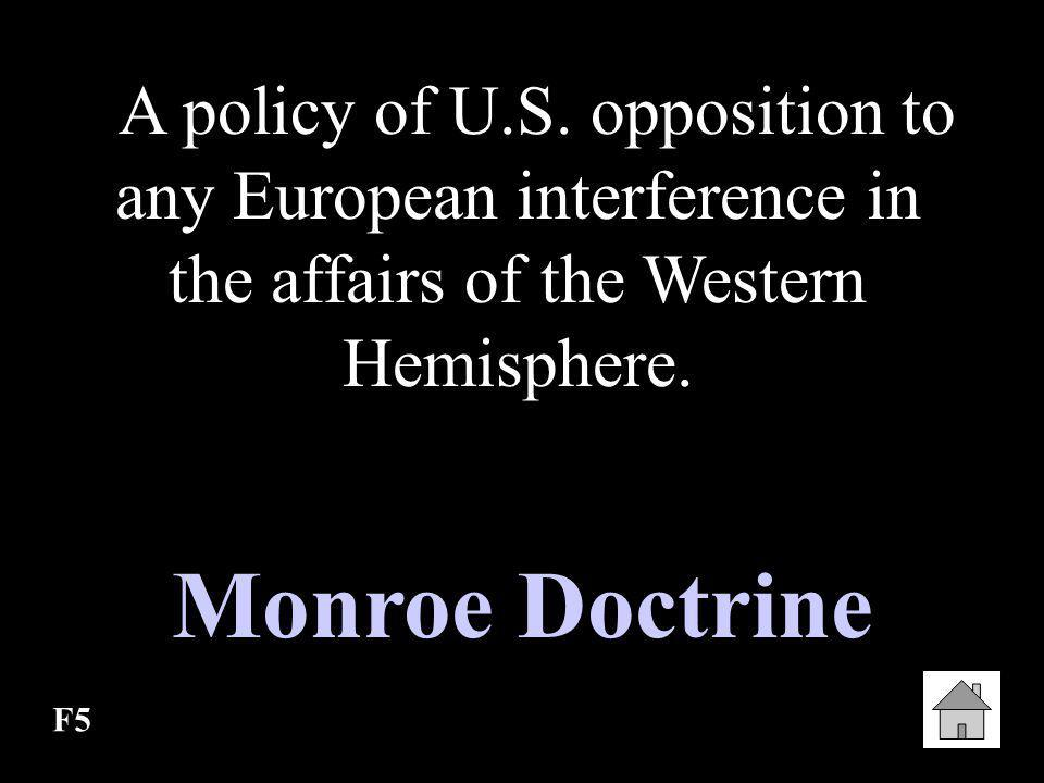 A policy of U.S. opposition to any European interference in the affairs of the Western Hemisphere.