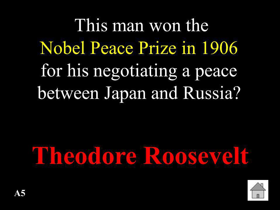 This man won the Nobel Peace Prize in 1906 for his negotiating a peace between Japan and Russia
