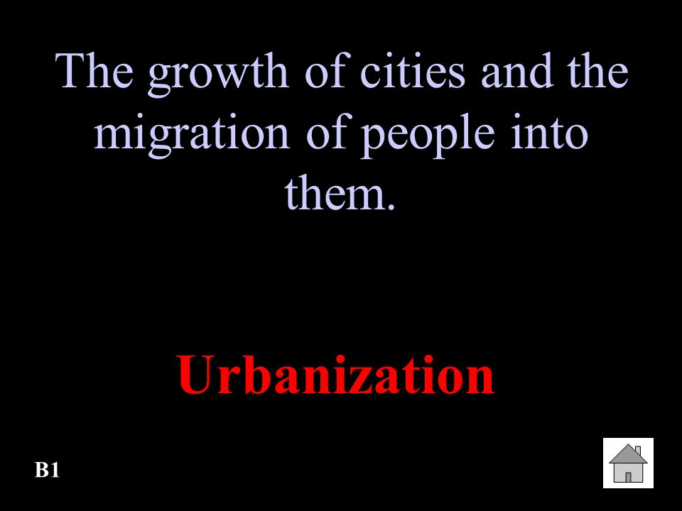 The growth of cities and the migration of people into them.
