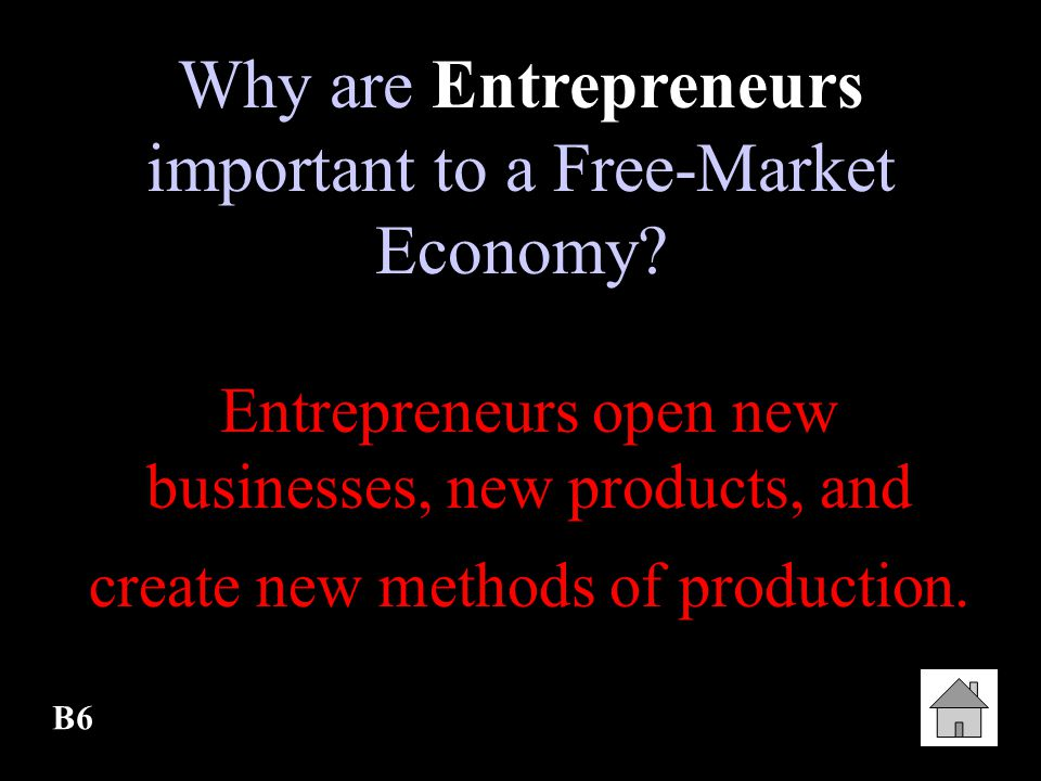 Why are Entrepreneurs important to a Free-Market Economy