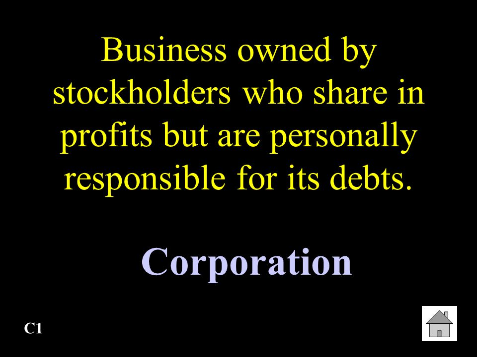 Business owned by stockholders who share in profits but are personally responsible for its debts.