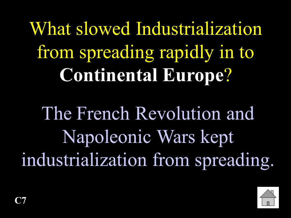 What slowed Industrialization from spreading rapidly in to Continental Europe