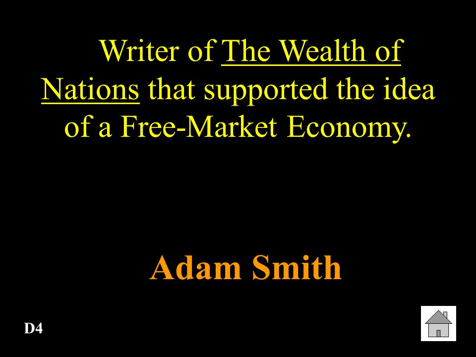Writer of The Wealth of Nations that supported the idea of a Free-Market Economy.