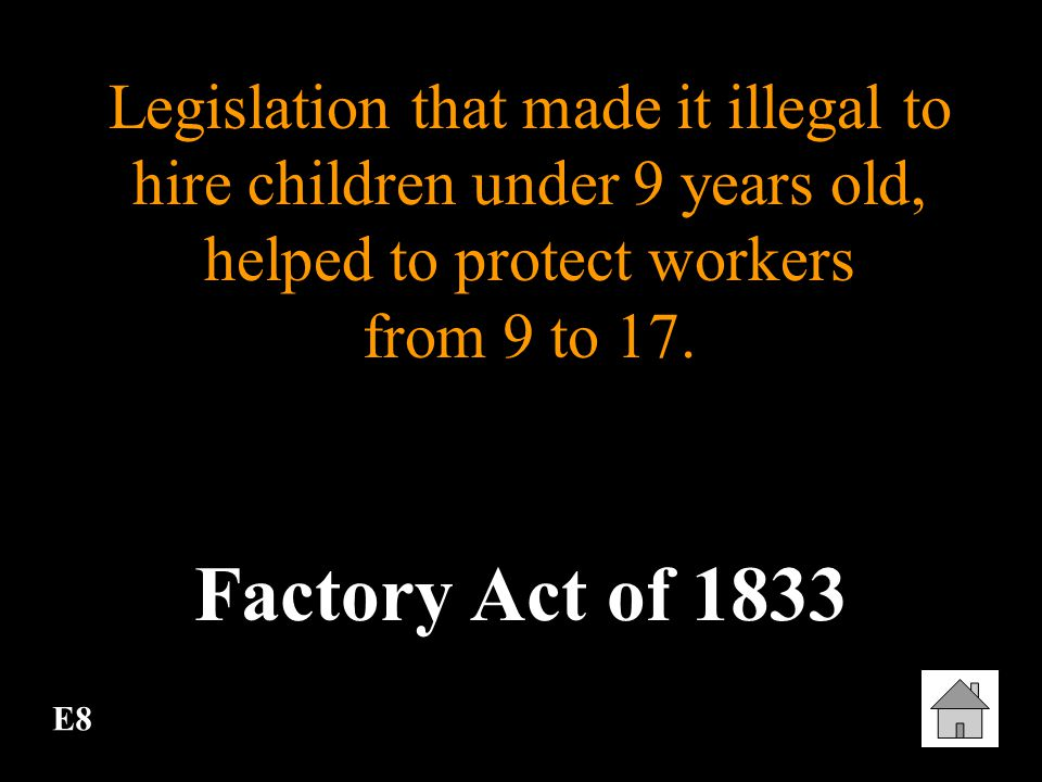 Legislation that made it illegal to hire children under 9 years old, helped to protect workers from 9 to 17.