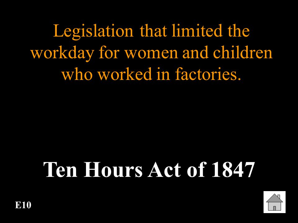 Legislation that limited the workday for women and children who worked in factories.
