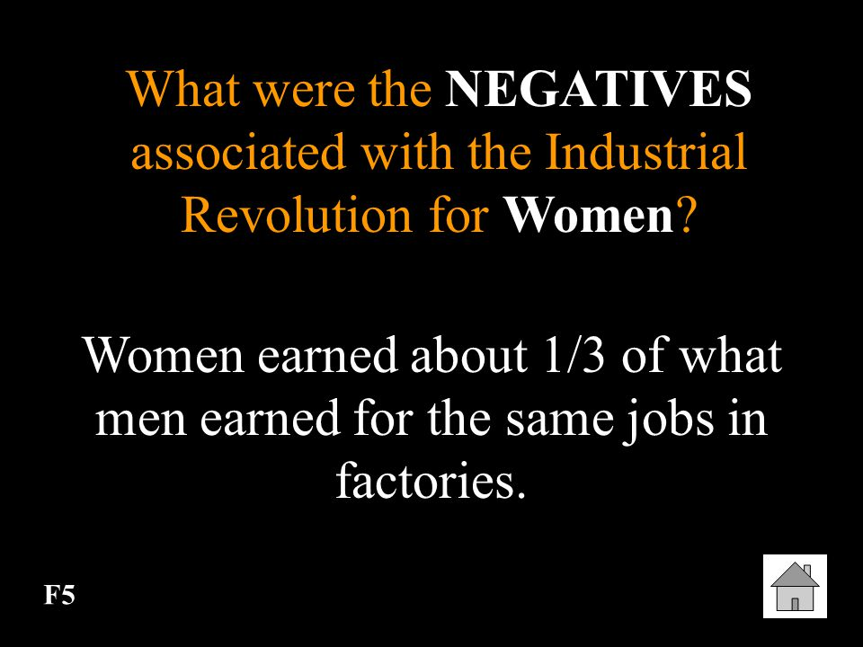 What were the NEGATIVES associated with the Industrial Revolution for Women