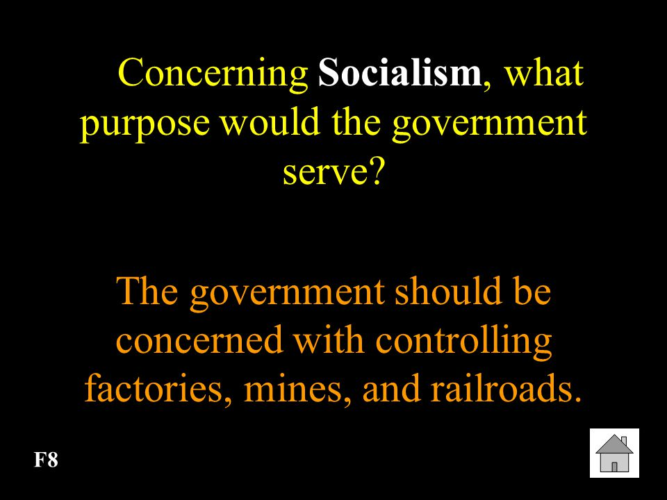 Concerning Socialism, what purpose would the government serve