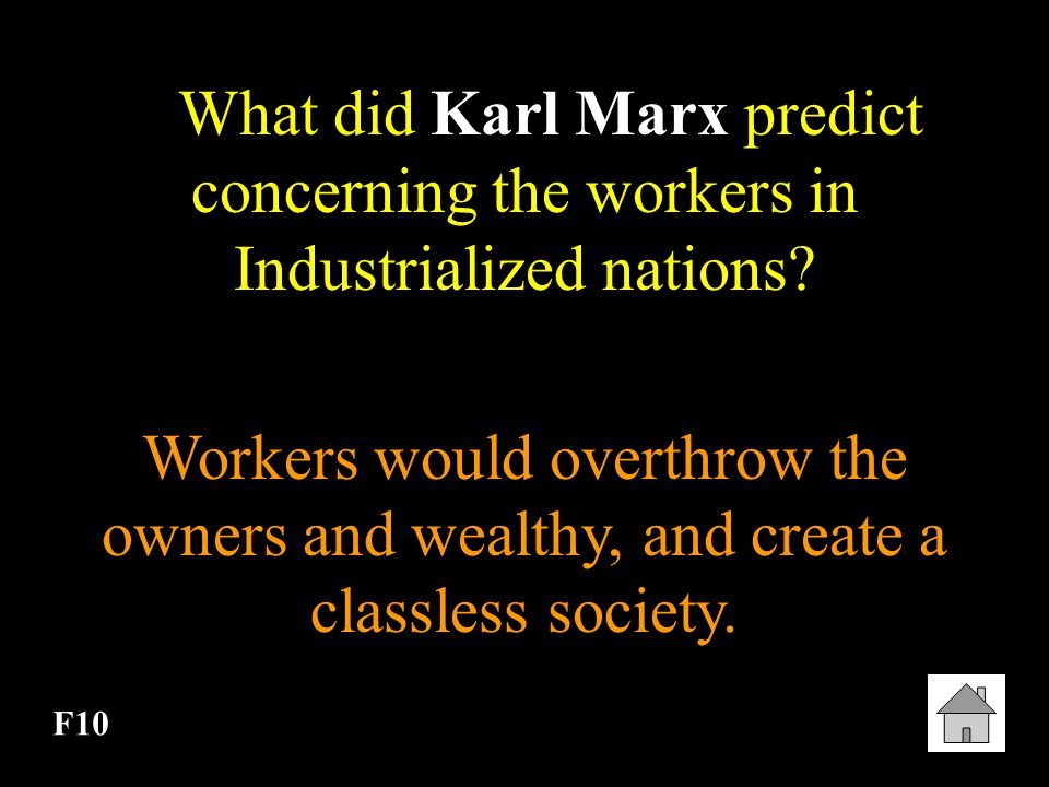 What did Karl Marx predict concerning the workers in Industrialized nations