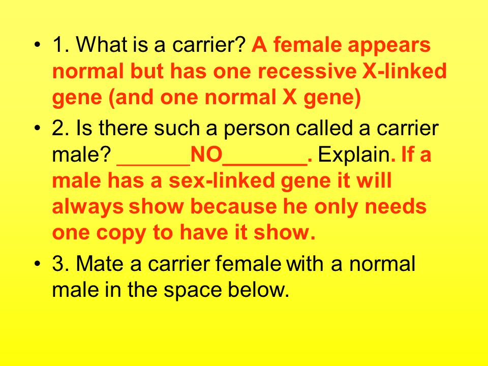 1. What is a carrier A female appears normal but has one recessive X-linked gene (and one normal X gene)