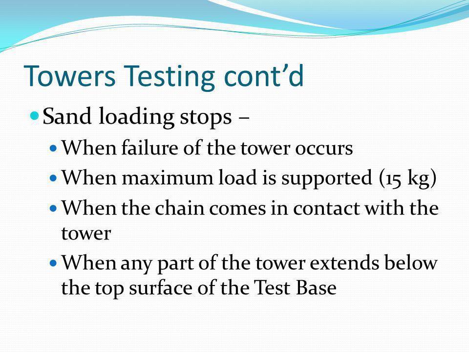 Towers Testing cont'd Sand loading stops –