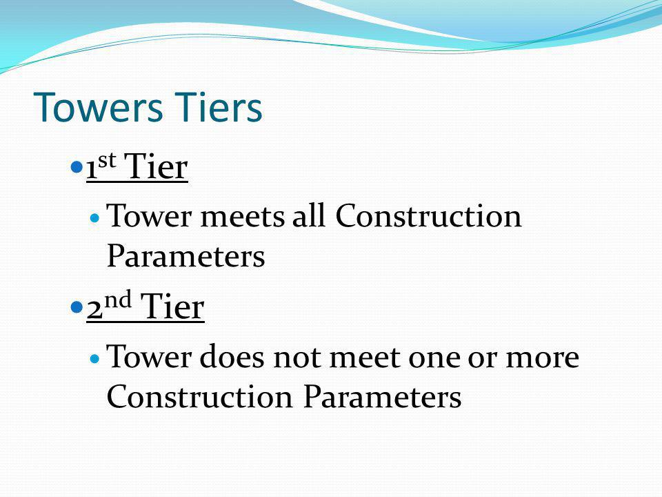 Towers Tiers 1st Tier 2nd Tier Tower meets all Construction Parameters
