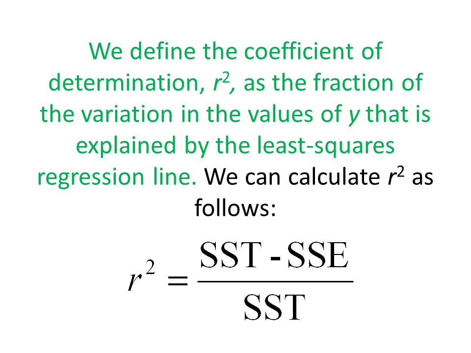 We define the coefficient of determination, r2, as the fraction of the variation in the values of y that is explained by the least-squares regression line.