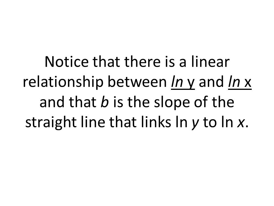 Notice that there is a linear relationship between ln y and ln x and that b is the slope of the straight line that links ln y to ln x.
