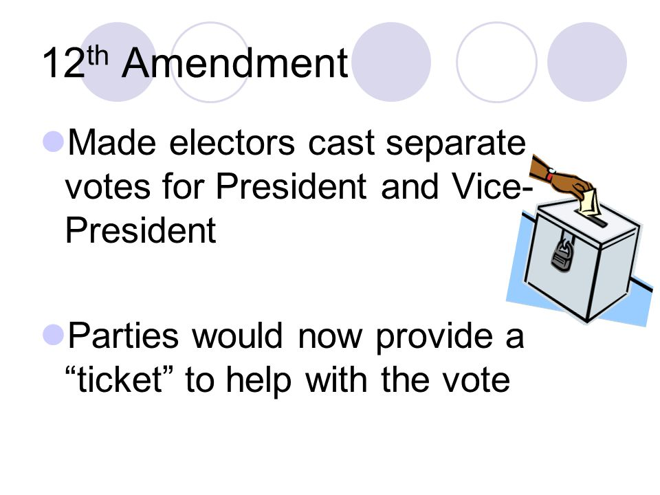 12th Amendment Made electors cast separate votes for President and Vice-President.