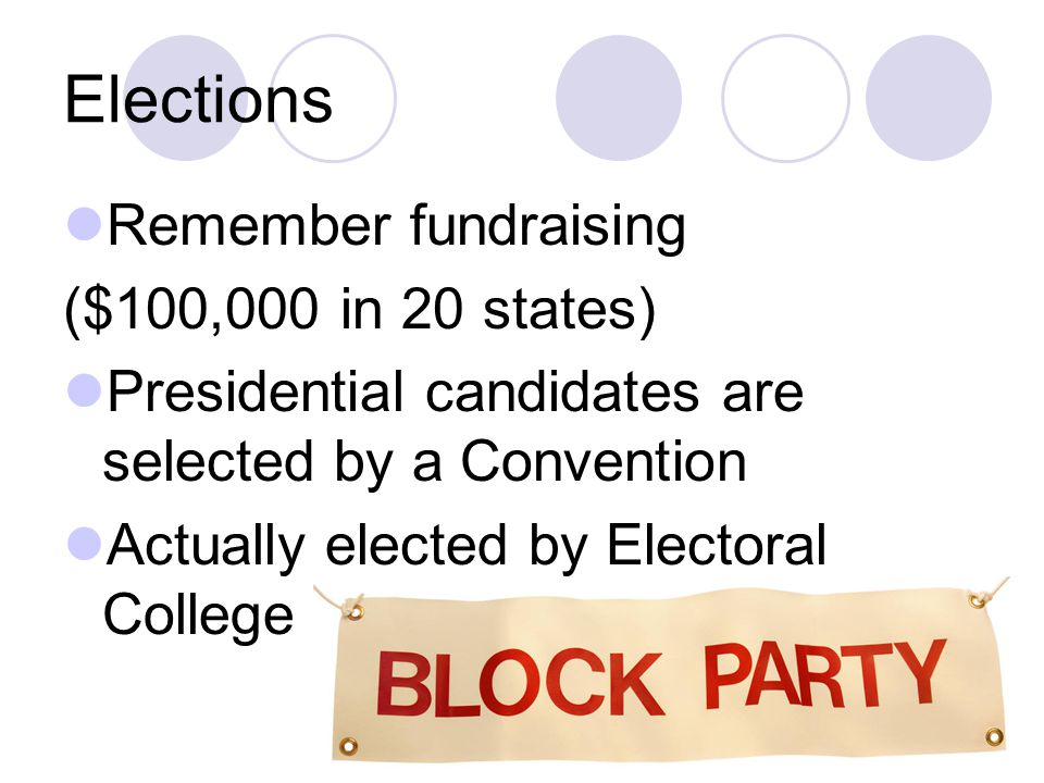 Elections Remember fundraising ($100,000 in 20 states)