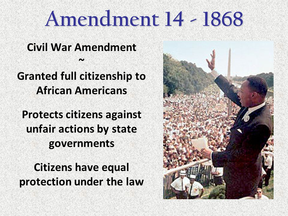 the 14th amendment of 1868 pushed for womens right to vote One response was the fourteenth amendment to the us constitution, proposed on june 13, 1866, and ratified july 28, 1868 during the civil war, the developing women's rights movement had largely put their agenda on hold, with most of the women's rights advocates supporting the union efforts.