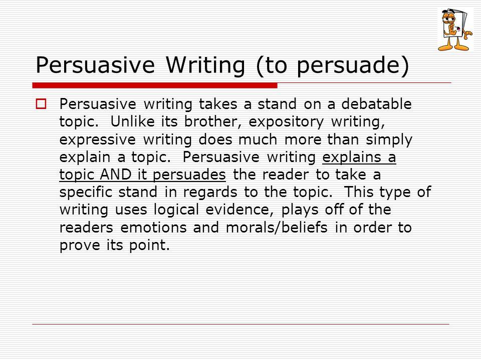 Persuasive Writing (to persuade)