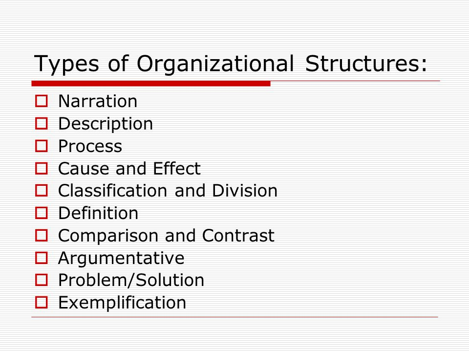 Types of Organizational Structures: