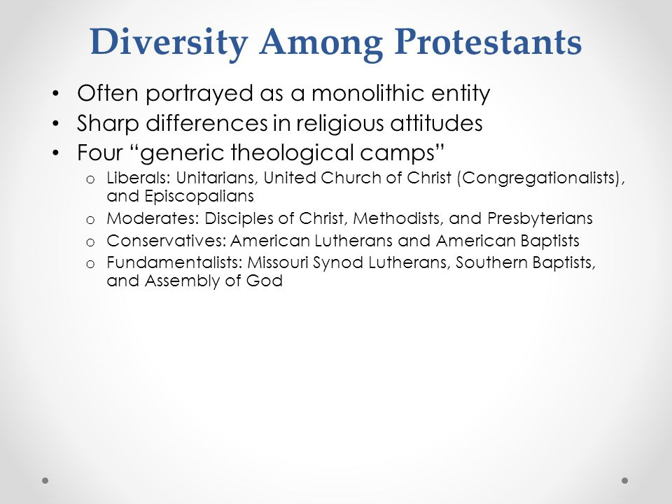 Diversity Among Protestants