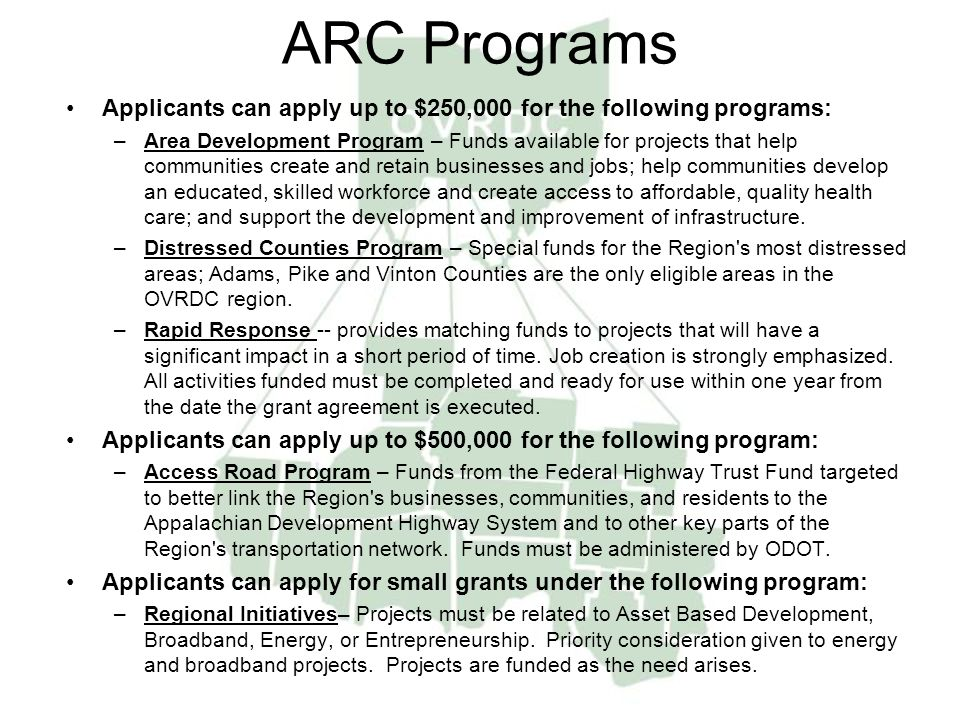 ARC Programs Applicants can apply up to $250,000 for the following programs: