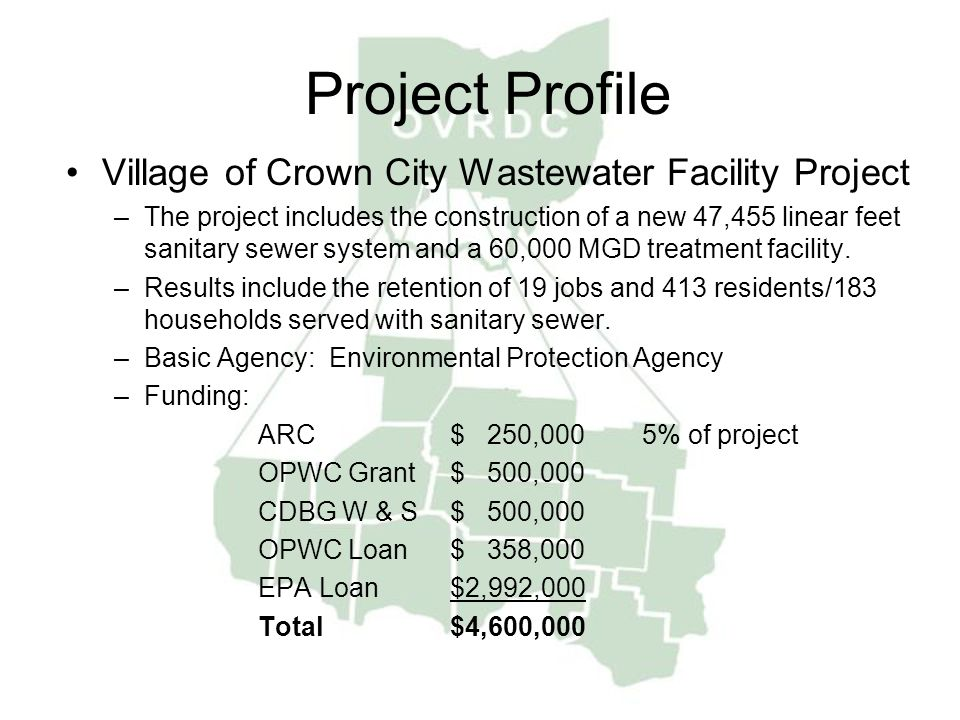 Project Profile Village of Crown City Wastewater Facility Project