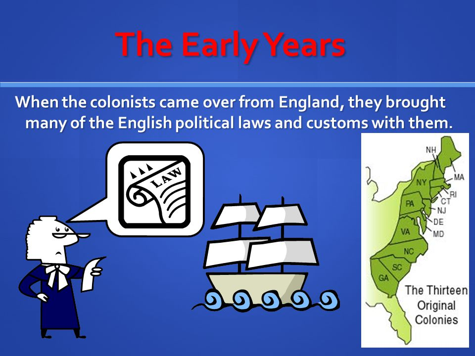 The Early Years When the colonists came over from England, they brought many of the English political laws and customs with them.