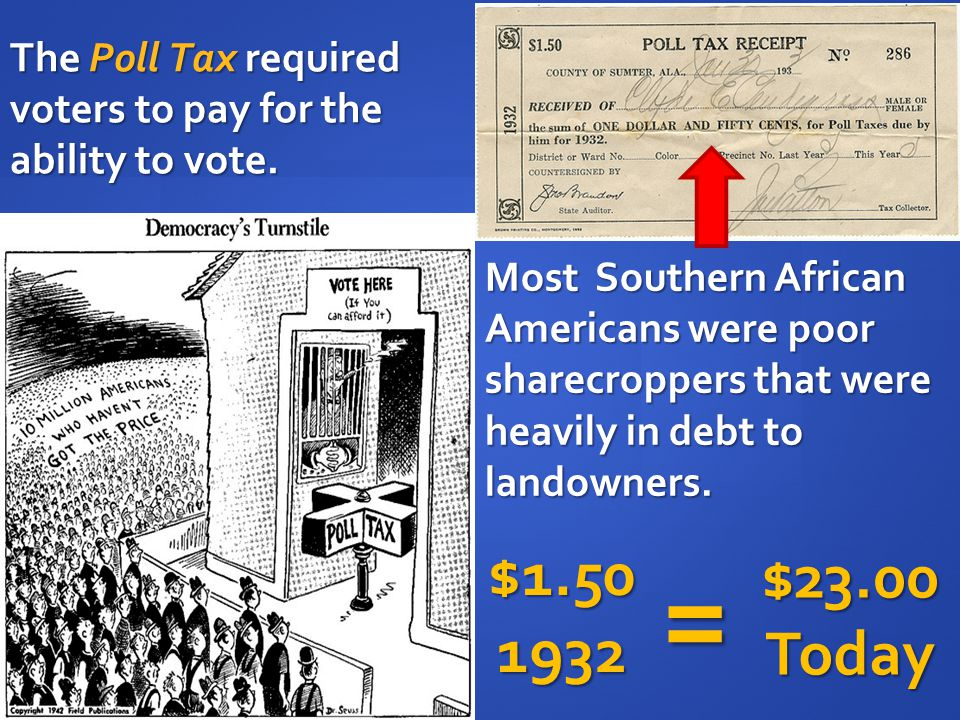 The Poll Tax required voters to pay for the ability to vote.