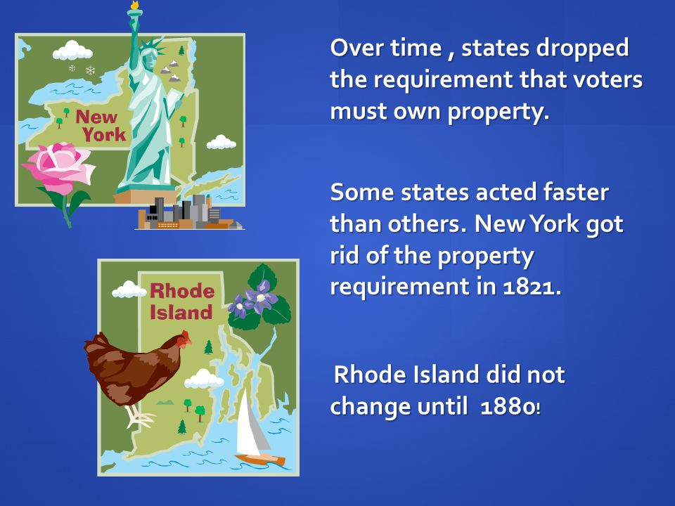 Over time , states dropped the requirement that voters must own property.